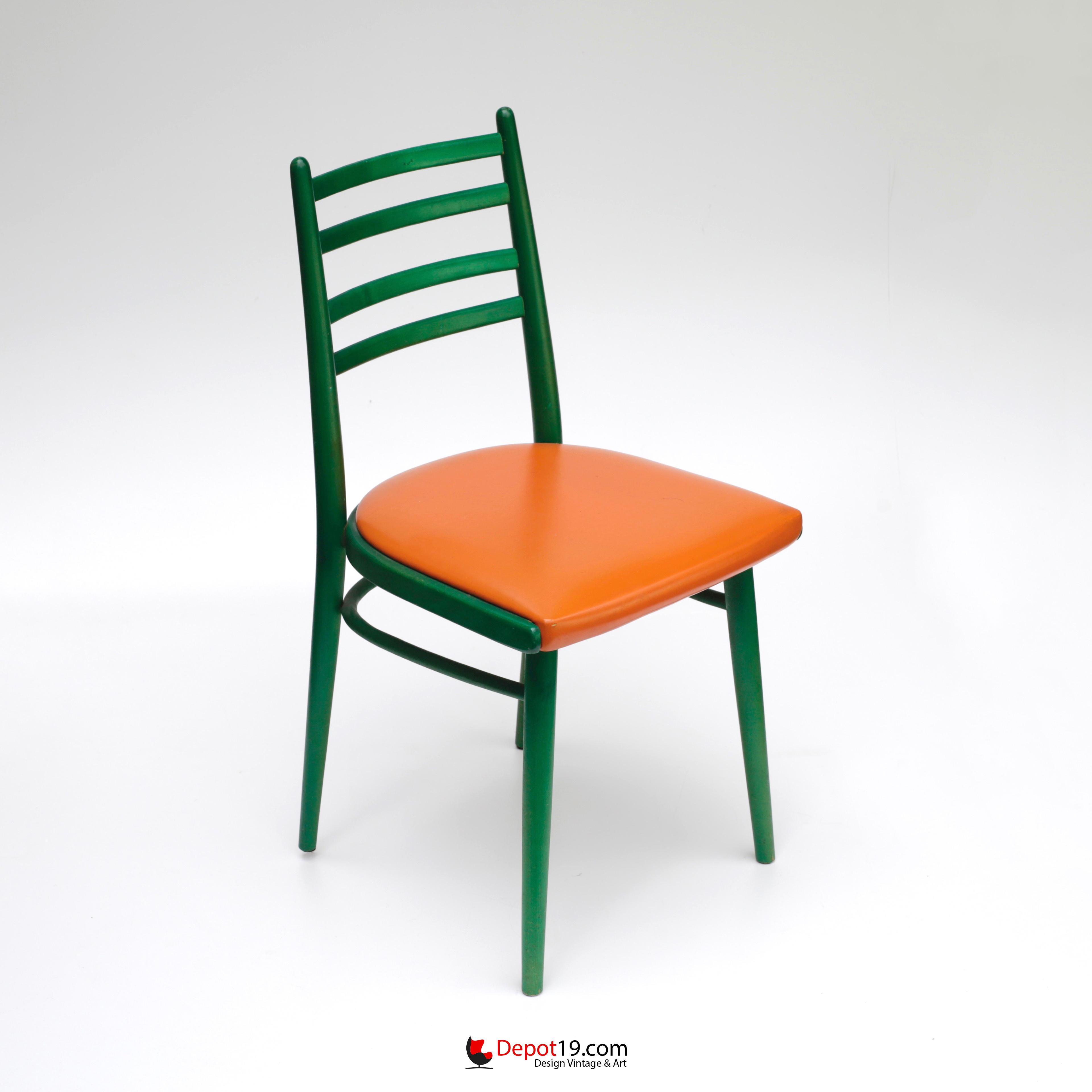 50s thonet spijlen stoel groen antonin suman stijl depot 19 - Stoel nieuwe kunst ...