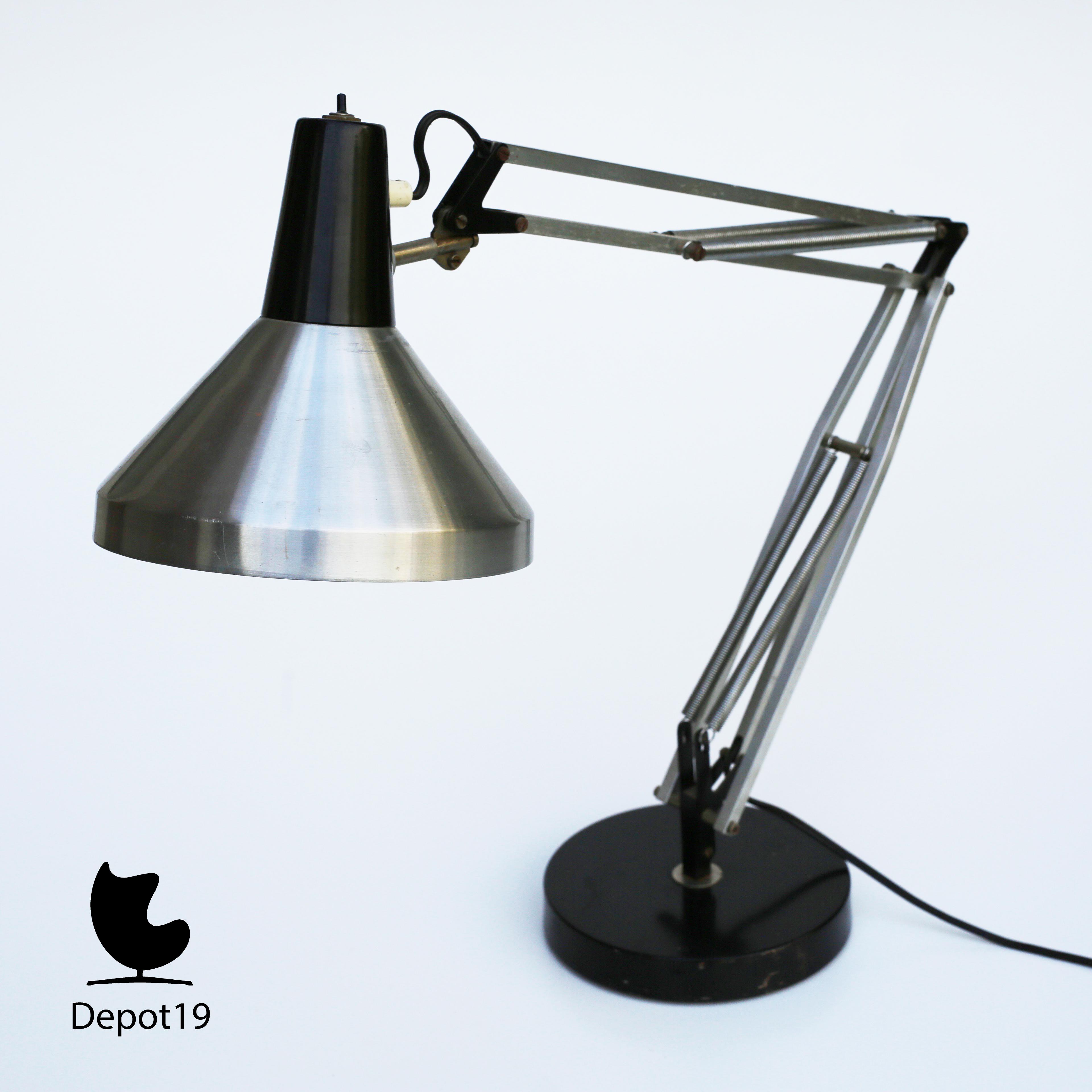 Hala Zeist 1960s Busquet Desk Lamp Aluminium Black Hinged Luxo Style 1 Jpg 2