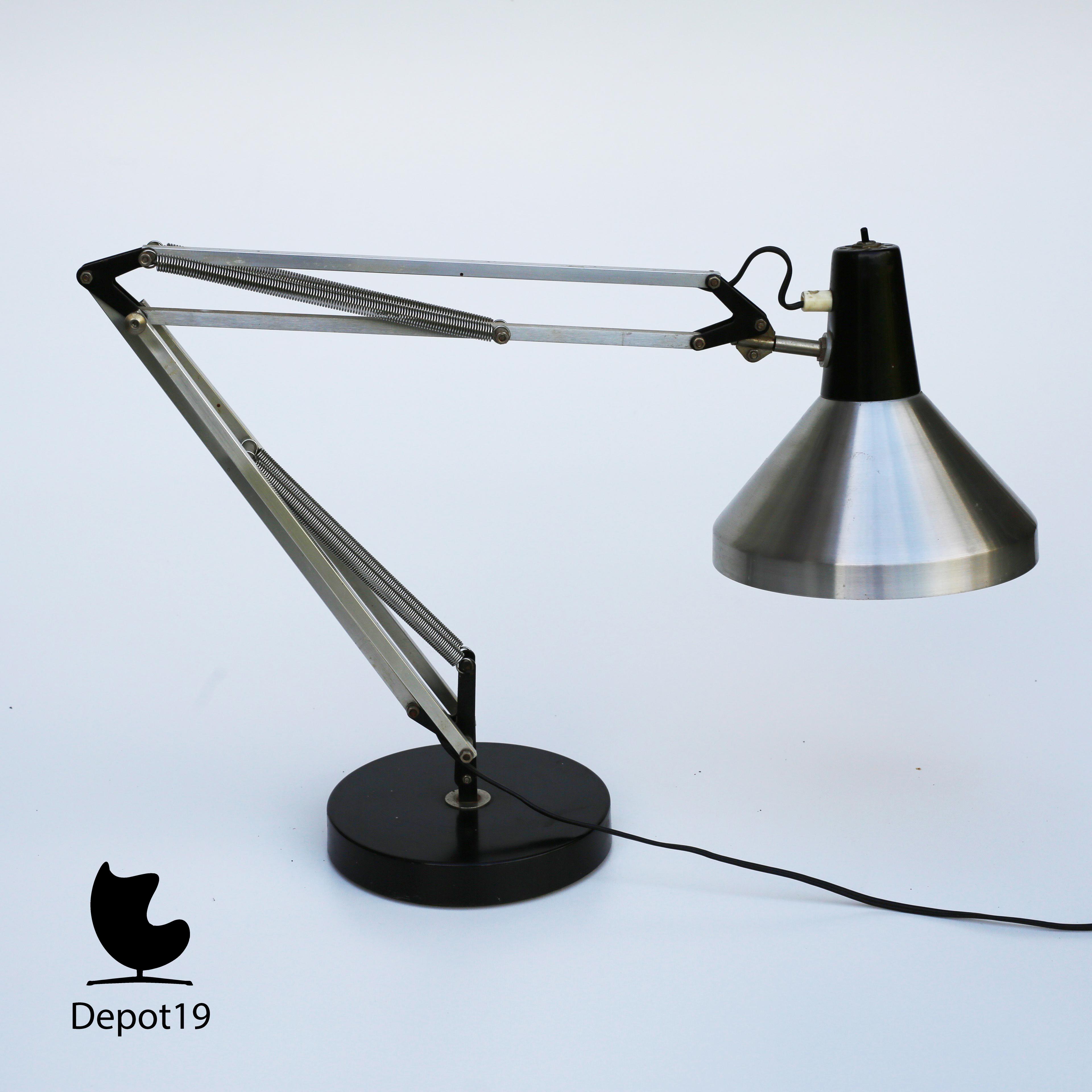 Hala Zeist 1960s Busquet Desk Lamp Aluminium Black Hinged Luxo Style 4 Jpg 5
